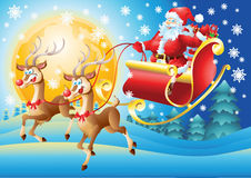 Санта Клаус в его летании саней на ноче Стоковые Изображения