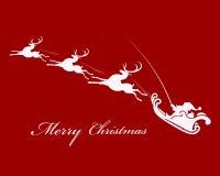 Санта Клаус в санях с северным оленем Стоковые Изображения RF