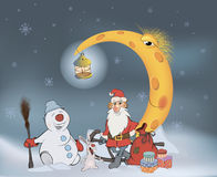 Санта Клаус его друзья и подарки рождества шарж Стоковая Фотография