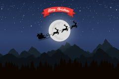 Санта Клаус едет в санях с их северным оленем через горы ночи Стоковое Изображение