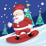 Санта Клаус занимаясь серфингом на снеге Стоковое Изображение