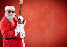 Санта Клаус играя гитару Стоковое Изображение RF