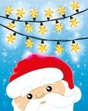 Санта Клаус и гирлянда Стоковое фото RF