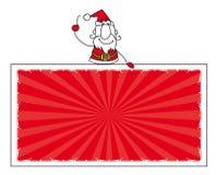 Санта Клаус и знамя Стоковая Фотография