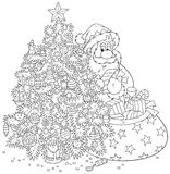 Санта Клаус и рождественская елка Стоковые Изображения RF
