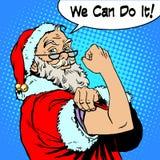 Санта Клаус мы можем сделать его приводим рождество в действие протеста иллюстрация штока