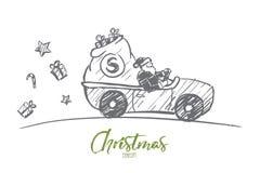 Санта Клаус нарисованный рукой управляя автомобилем с настоящими моментами Стоковое Изображение RF