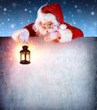 Санта Клаус на винтажном шильдике Стоковое фото RF