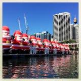 Санта Клаус на гавани милочки Стоковое Изображение