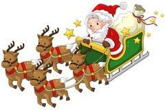 Санта Клаус на изолированных санях северного оленя в рождестве в белизне Стоковое Фото