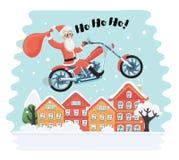 Санта Клаус на мотоцилк Стоковая Фотография