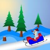 Санта Клаус на розвальнях иллюстрация Стоковое Изображение RF