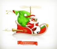 Санта Клаус на розвальнях Стоковое Изображение