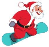 Санта Клаус на сноуборде Иллюстрация вектора