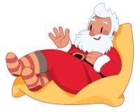 Санта Клаус на сумке фасоли Иллюстрация штока