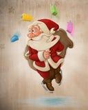 Санта Клаус на льде иллюстрация вектора