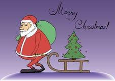 Санта Клаус носит подарки для рождества Стоковое фото RF