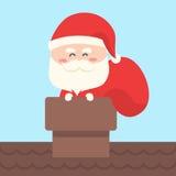 Санта Клаус носит сумку подарка, присутствующую Стоковая Фотография RF