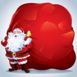 Санта Клаус нося гигантский мешок иллюстрация вектора