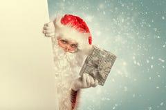 Санта Клаус от заднего белого пустого знамени Стоковое Изображение