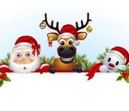 Санта Клаус, олени, и шарж снеговика с пустым знаком бесплатная иллюстрация
