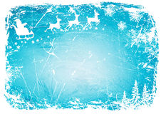 Санта Клаус, олени на картинах сини предпосылки зимы Предпосылка вектора Стоковое Фото