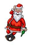 Санта Клаус пьяный Стоковое Изображение