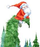 Санта Клаус смешной santa Новый Год приветствию карточки иллюстрация штока