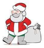 Санта Клаус с большим мешком подарков рождества Бесплатная Иллюстрация