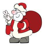 Санта Клаус с большим мешком подарков рождества Иллюстрация вектора