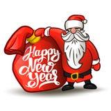 Санта Клаус с настоящими моментами сумки счастливое Новый Год Иллюстрация вектора