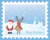 Санта Клаус с оленями Стоковые Фото