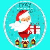 Санта Клаус с подарком в руке дополнительный праздник формата карты рождество веселое иллюстрация штока