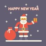 Санта Клаус с подарочной коробкой и сумкой на ноче Стоковая Фотография