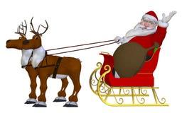 Санта Клаус с северными оленями и санями Стоковые Фото