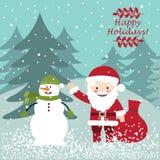 Санта Клаус с снеговиком вектор открытки иллюстрации рождества eps10 Стоковое фото RF