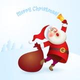 Санта Клаус с сумкой и колоколом Стоковые Изображения RF