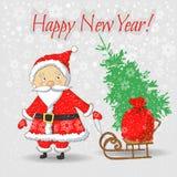 Санта Клаус с сумкой и рождественской елкой подарка Стоковое Изображение RF