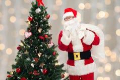 Санта Клаус с сумкой и рождественской елкой Стоковые Изображения RF