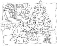 Санта Клаус украшает рождественскую елку с чулками ведьмы иллюстрация вектора
