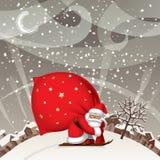 Санта Клаус лыжей с красным большим мешком против landsc зимы бесплатная иллюстрация