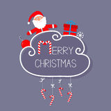 Санта Клаус, giftbox, снежинка, шарик Карточка с Рождеством Христовым висеть тросточки конфеты бесплатная иллюстрация