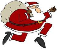 Санта на беге Стоковое Изображение