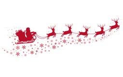 Санта на санях и с северными оленями иллюстрация вектора