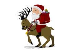 Санта на северном олене Стоковые Изображения