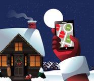 Санта проверяет его GPS для того чтобы увидеть кто капризный или славно иллюстрация штока