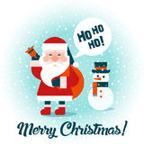 Санта с подарками и снеговиком С Рождеством Христовым! Счастливый Новый Год Иллюстрация штока