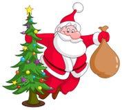 Санта с рождественской елкой бесплатная иллюстрация