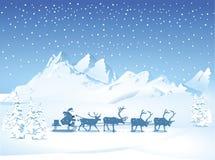 Санта с санями в вечере иллюстрация вектора