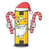 Санта с уровнем духа конфеты в сумке мультфильма иллюстрация штока